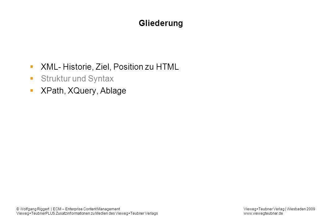 Vieweg+Teubner Verlag | Wiesbaden 2009 www.viewegteubner.de © Wolfgang Riggert | ECM – Enterprise Content Management Vieweg+TeubnerPLUS Zusatzinformationen zu Medien des Vieweg+Teubner Verlags Gliederung XML- Historie, Ziel, Position zu HTML Struktur und Syntax XPath, XQuery, Ablage