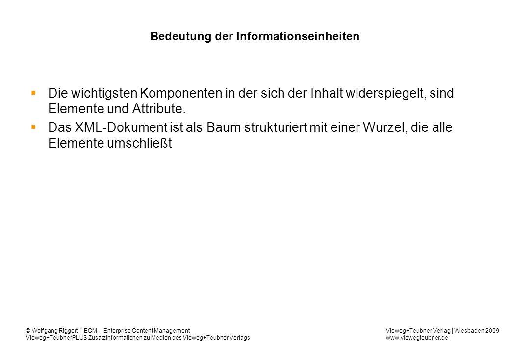 Vieweg+Teubner Verlag | Wiesbaden 2009 www.viewegteubner.de © Wolfgang Riggert | ECM – Enterprise Content Management Vieweg+TeubnerPLUS Zusatzinformationen zu Medien des Vieweg+Teubner Verlags Bedeutung der Informationseinheiten Die wichtigsten Komponenten in der sich der Inhalt widerspiegelt, sind Elemente und Attribute.