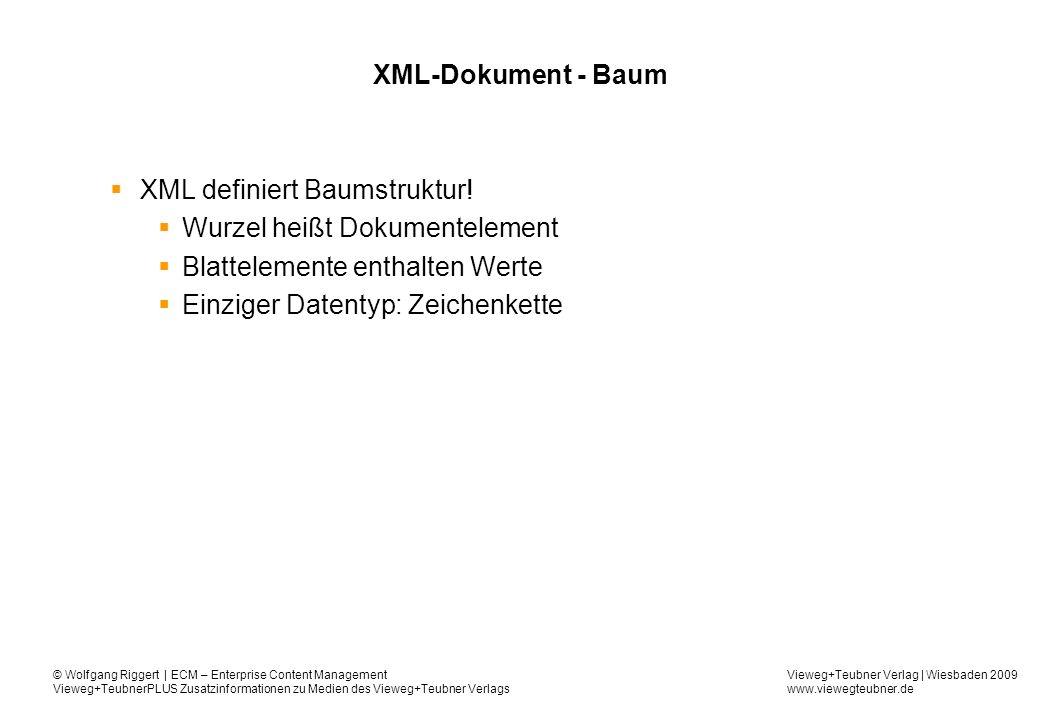 Vieweg+Teubner Verlag | Wiesbaden 2009 www.viewegteubner.de © Wolfgang Riggert | ECM – Enterprise Content Management Vieweg+TeubnerPLUS Zusatzinformationen zu Medien des Vieweg+Teubner Verlags XML-Dokument - Baum XML definiert Baumstruktur.