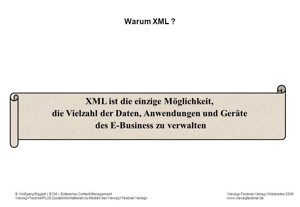 Vieweg+Teubner Verlag | Wiesbaden 2009 www.viewegteubner.de © Wolfgang Riggert | ECM – Enterprise Content Management Vieweg+TeubnerPLUS Zusatzinformationen zu Medien des Vieweg+Teubner Verlags Warum XML .