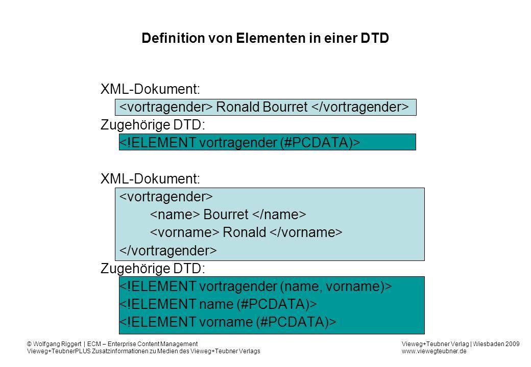 Vieweg+Teubner Verlag | Wiesbaden 2009 www.viewegteubner.de © Wolfgang Riggert | ECM – Enterprise Content Management Vieweg+TeubnerPLUS Zusatzinformationen zu Medien des Vieweg+Teubner Verlags Definition von Elementen in einer DTD XML-Dokument: Ronald Bourret Zugehörige DTD: XML-Dokument: Bourret Ronald Zugehörige DTD: