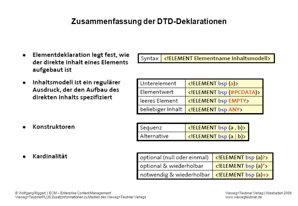 Vieweg+Teubner Verlag | Wiesbaden 2009 www.viewegteubner.de © Wolfgang Riggert | ECM – Enterprise Content Management Vieweg+TeubnerPLUS Zusatzinformationen zu Medien des Vieweg+Teubner Verlags Zusammenfassung der DTD-Deklarationen