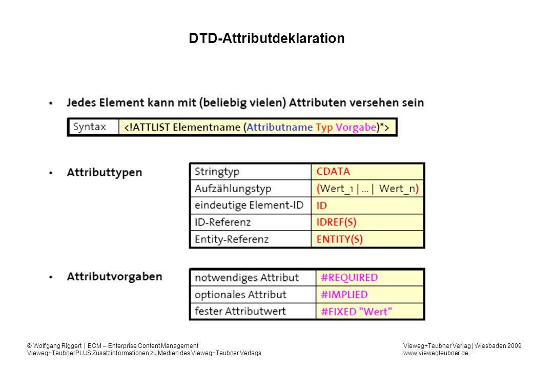 Vieweg+Teubner Verlag | Wiesbaden 2009 www.viewegteubner.de © Wolfgang Riggert | ECM – Enterprise Content Management Vieweg+TeubnerPLUS Zusatzinformationen zu Medien des Vieweg+Teubner Verlags DTD-Attributdeklaration
