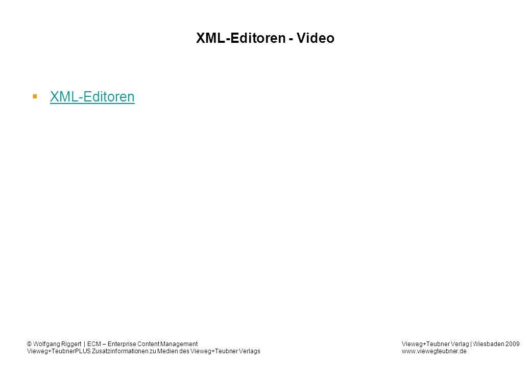 Vieweg+Teubner Verlag | Wiesbaden 2009 www.viewegteubner.de © Wolfgang Riggert | ECM – Enterprise Content Management Vieweg+TeubnerPLUS Zusatzinformationen zu Medien des Vieweg+Teubner Verlags XML-Editoren - Video XML-Editoren