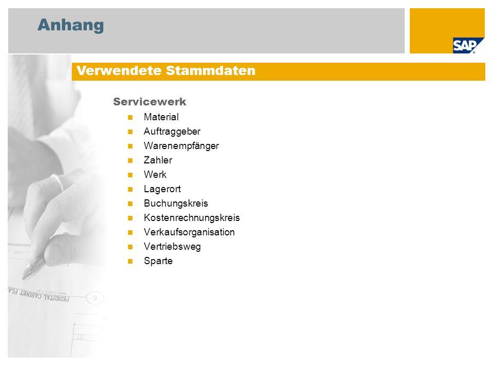 Anhang Servicewerk Material Auftraggeber Warenempfänger Zahler Werk Lagerort Buchungskreis Kostenrechnungskreis Verkaufsorganisation Vertriebsweg Spar