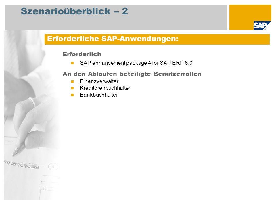 Szenarioüberblick – 2 Erforderlich SAP enhancement package 4 for SAP ERP 6.0 An den Abläufen beteiligte Benutzerrollen Finanzverwalter Kreditorenbuchh