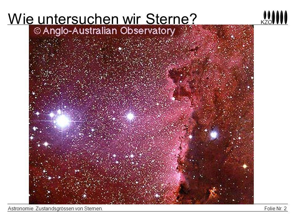 Folie Nr. 2 Astronomie. Zustandsgrössen von Sternen. Wie untersuchen wir Sterne?