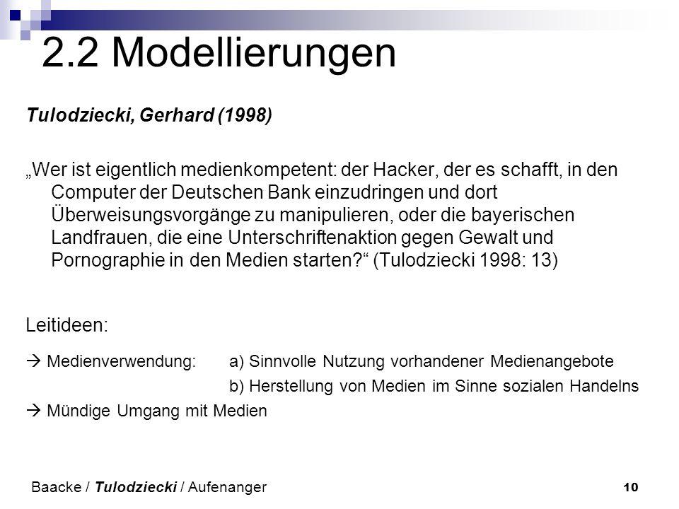 10 2.2 Modellierungen Tulodziecki, Gerhard (1998) Wer ist eigentlich medienkompetent: der Hacker, der es schafft, in den Computer der Deutschen Bank einzudringen und dort Überweisungsvorgänge zu manipulieren, oder die bayerischen Landfrauen, die eine Unterschriftenaktion gegen Gewalt und Pornographie in den Medien starten.