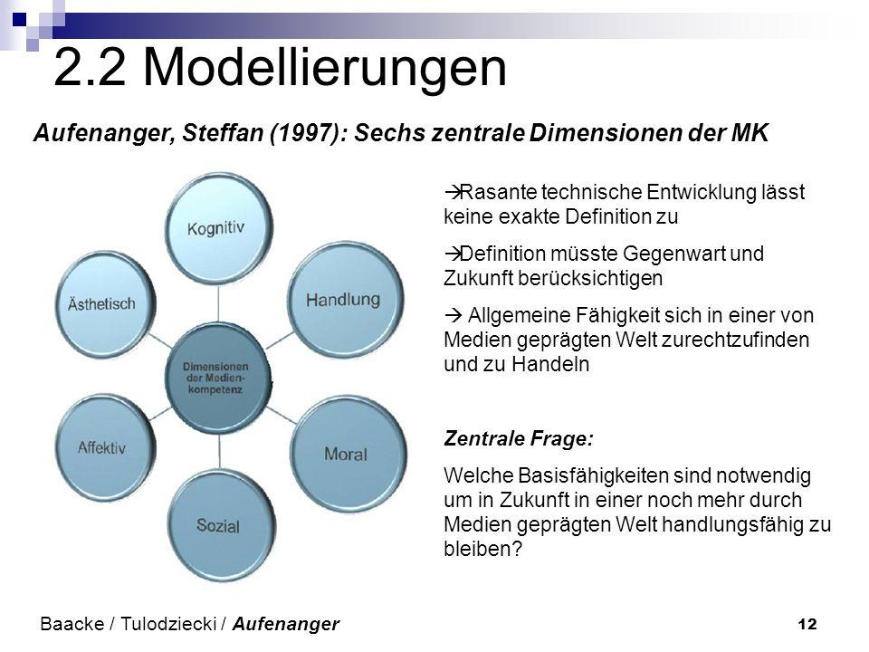 12 2.2 Modellierungen Aufenanger, Steffan (1997): Sechs zentrale Dimensionen der MK Baacke / Tulodziecki / Aufenanger Rasante technische Entwicklung l