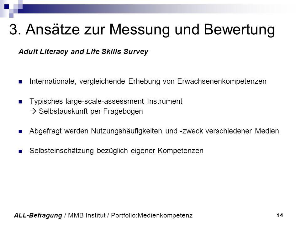 14 3. Ansätze zur Messung und Bewertung Adult Literacy and Life Skills Survey Internationale, vergleichende Erhebung von Erwachsenenkompetenzen Typisc