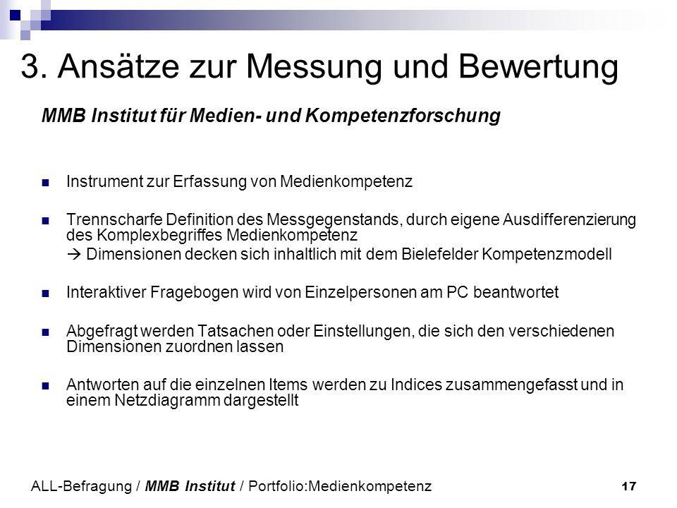 17 3. Ansätze zur Messung und Bewertung MMB Institut für Medien- und Kompetenzforschung Instrument zur Erfassung von Medienkompetenz Trennscharfe Defi