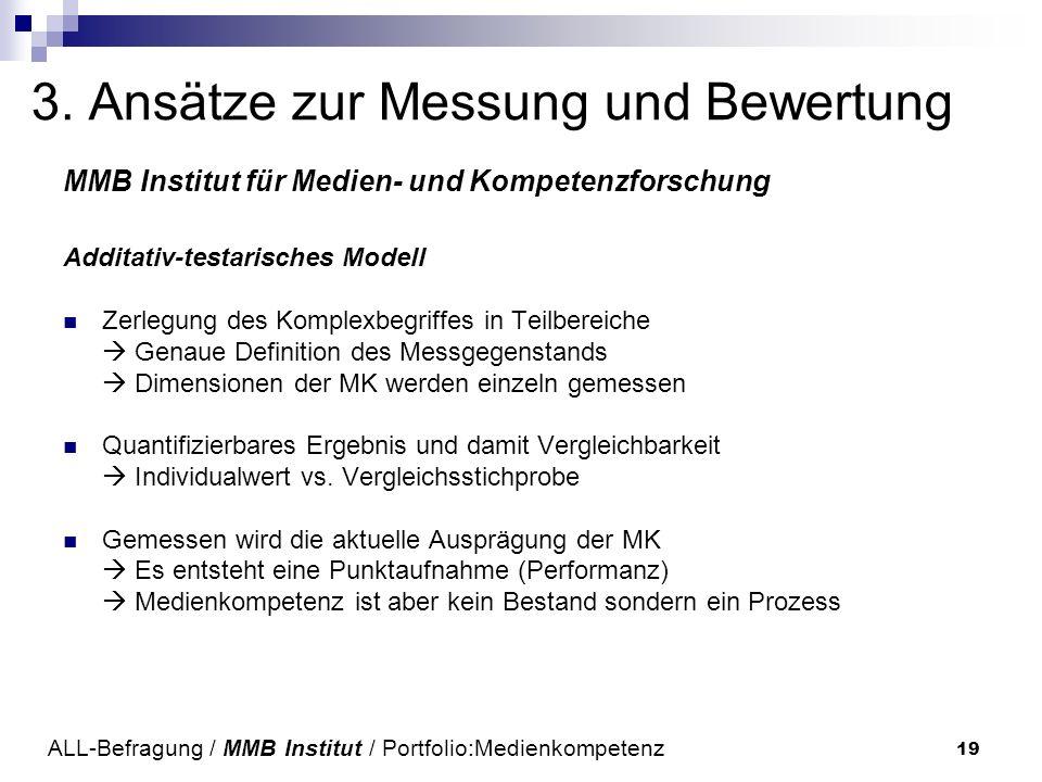 19 3. Ansätze zur Messung und Bewertung MMB Institut für Medien- und Kompetenzforschung Additativ-testarisches Modell Zerlegung des Komplexbegriffes i