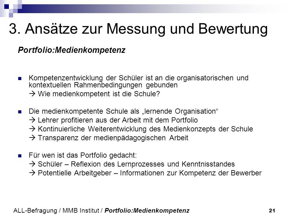 21 3. Ansätze zur Messung und Bewertung Portfolio:Medienkompetenz Kompetenzentwicklung der Schüler ist an die organisatorischen und kontextuellen Rahm