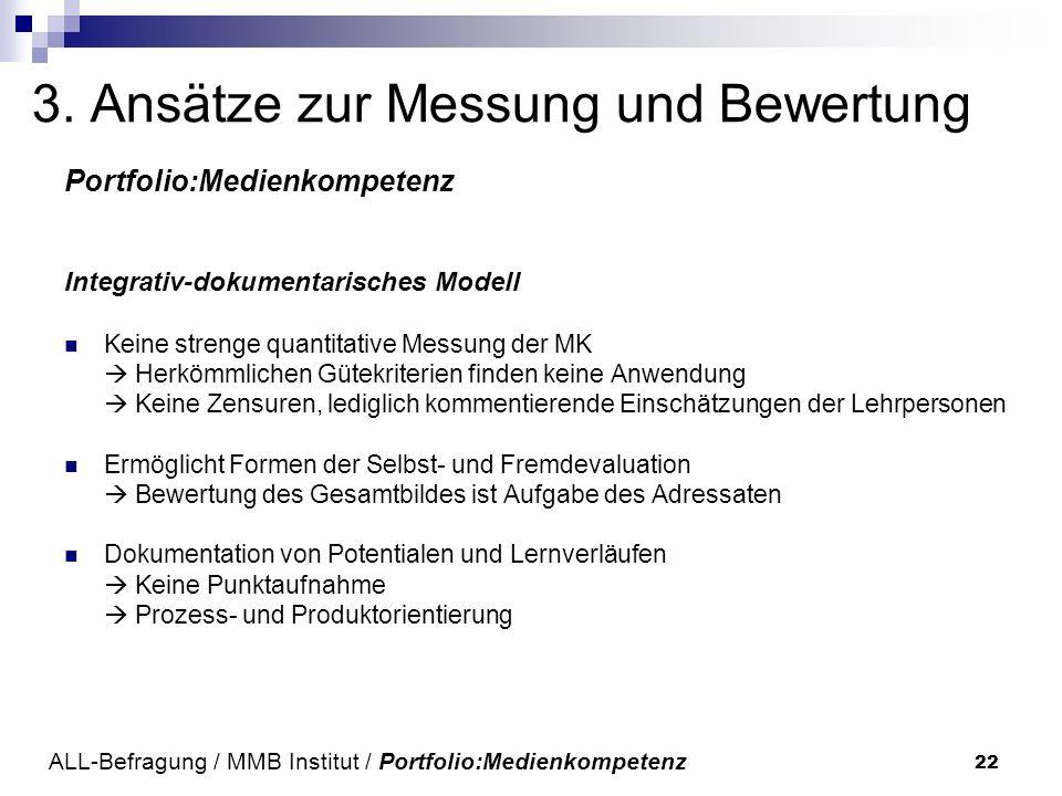 22 3. Ansätze zur Messung und Bewertung Portfolio:Medienkompetenz Integrativ-dokumentarisches Modell Keine strenge quantitative Messung der MK Herkömm
