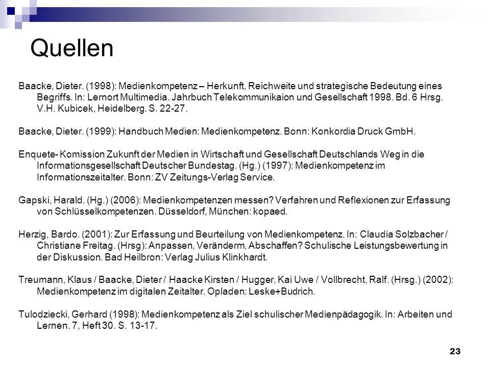 23 Quellen Baacke, Dieter. (1998): Medienkompetenz – Herkunft, Reichweite und strategische Bedeutung eines Begriffs. In: Lernort Multimedia. Jahrbuch