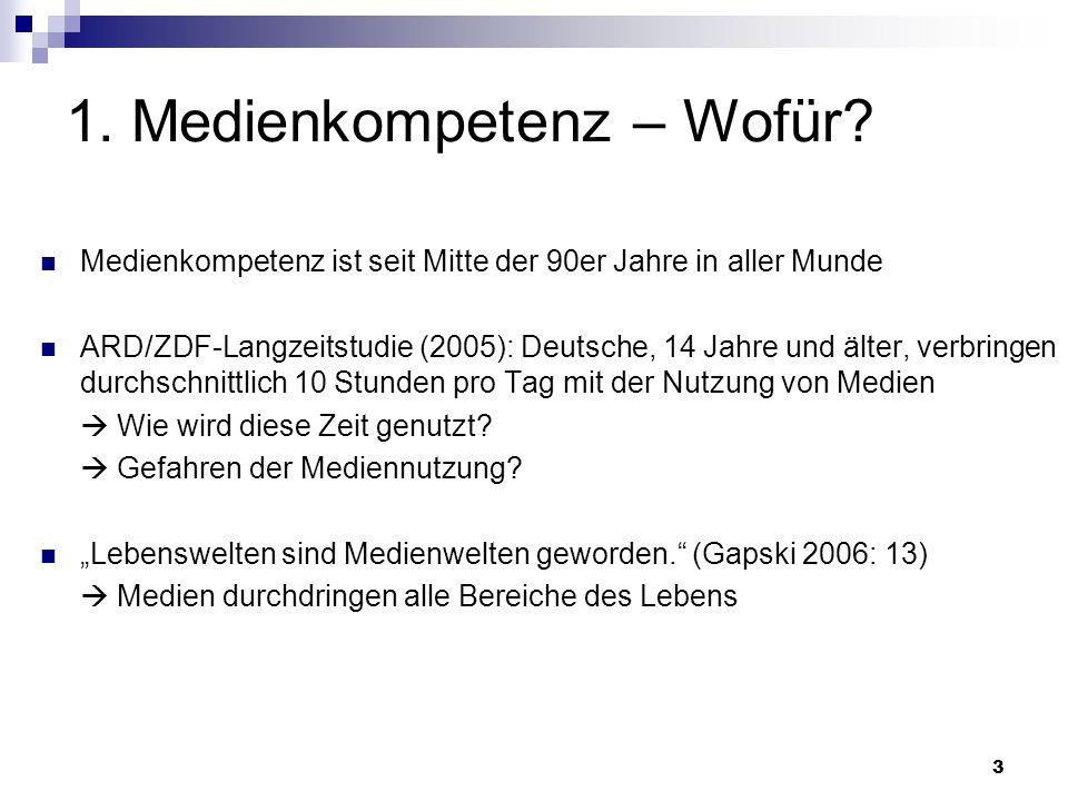 3 1. Medienkompetenz – Wofür? Medienkompetenz ist seit Mitte der 90er Jahre in aller Munde ARD/ZDF-Langzeitstudie (2005): Deutsche, 14 Jahre und älter