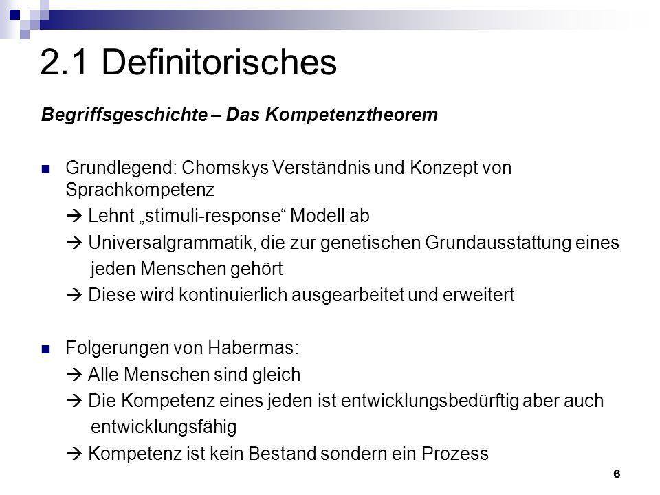 6 2.1 Definitorisches Begriffsgeschichte – Das Kompetenztheorem Grundlegend: Chomskys Verständnis und Konzept von Sprachkompetenz Lehnt stimuli-response Modell ab Universalgrammatik, die zur genetischen Grundausstattung eines jeden Menschen gehört Diese wird kontinuierlich ausgearbeitet und erweitert Folgerungen von Habermas: Alle Menschen sind gleich Die Kompetenz eines jeden ist entwicklungsbedürftig aber auch entwicklungsfähig Kompetenz ist kein Bestand sondern ein Prozess