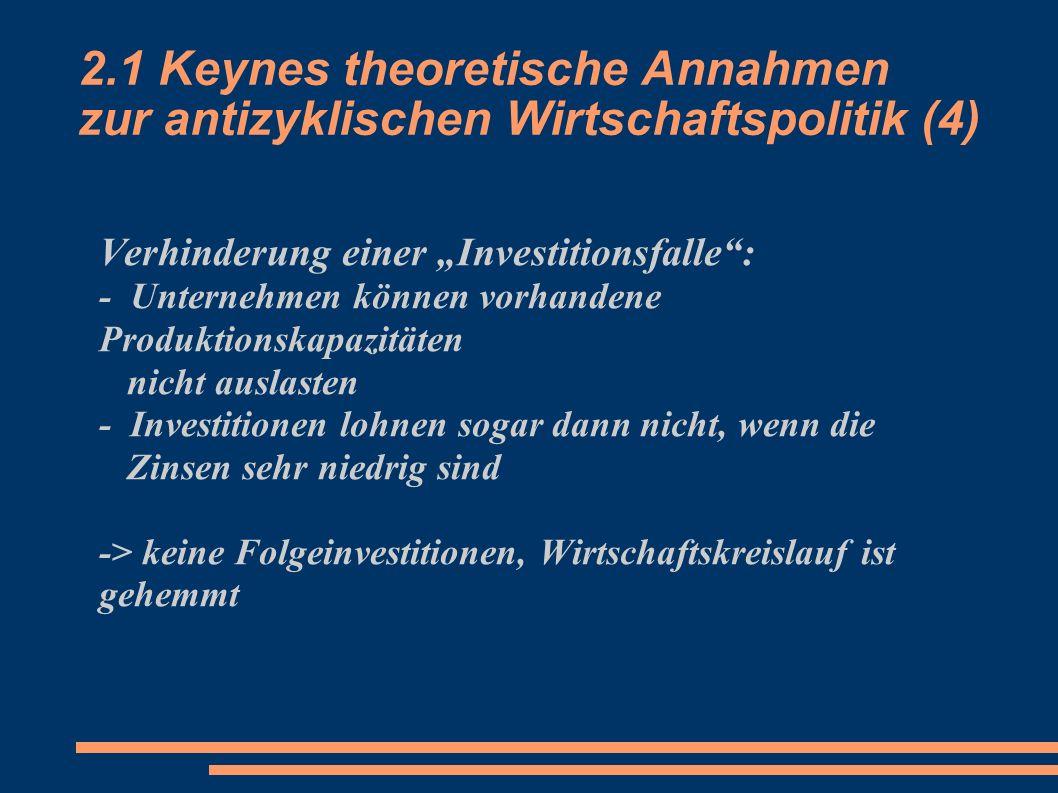 2.1 Keynes theoretische Annahmen zur antizyklischen Wirtschaftspolitik (4) Verhinderung einer Investitionsfalle: - Unternehmen können vorhandene Produ