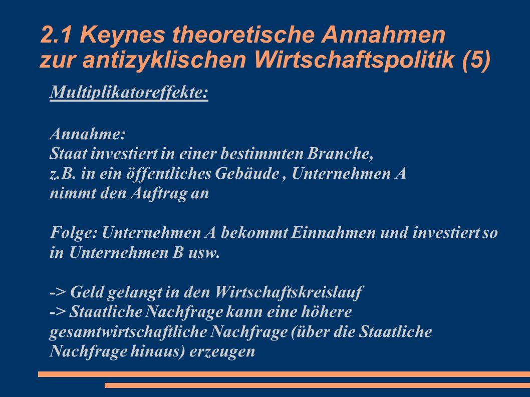 2.1 Keynes theoretische Annahmen zur antizyklischen Wirtschaftspolitik (5) Multiplikatoreffekte: Annahme: Staat investiert in einer bestimmten Branche