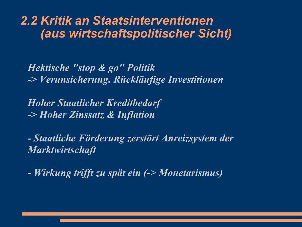 2.2 Kritik an Staatsinterventionen (aus wirtschaftspolitischer Sicht) Hektische