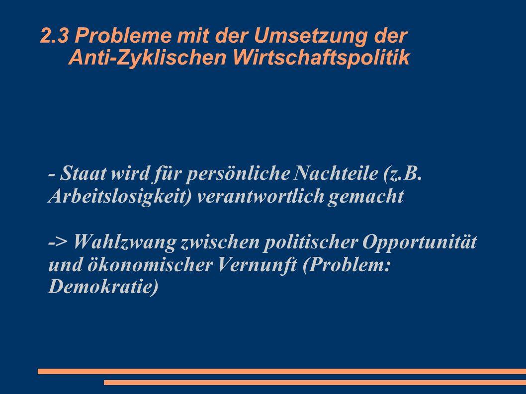 2.3 Probleme mit der Umsetzung der Anti-Zyklischen Wirtschaftspolitik - Staat wird für persönliche Nachteile (z.B. Arbeitslosigkeit) verantwortlich ge