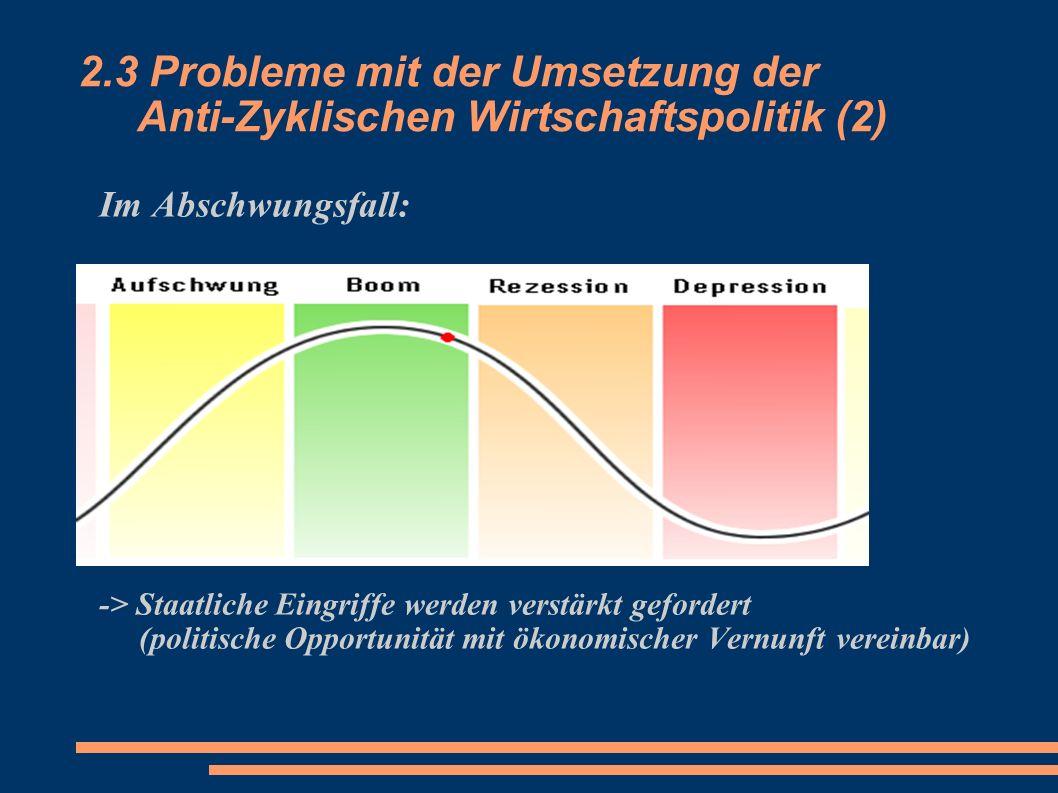 2.3 Probleme mit der Umsetzung der Anti-Zyklischen Wirtschaftspolitik (2) Im Abschwungsfall: -> Staatliche Eingriffe werden verstärkt gefordert (polit