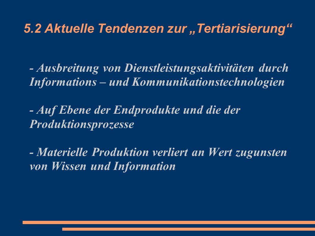 5.2 Aktuelle Tendenzen zur Tertiarisierung - Ausbreitung von Dienstleistungsaktivitäten durch Informations – und Kommunikationstechnologien - Auf Eben