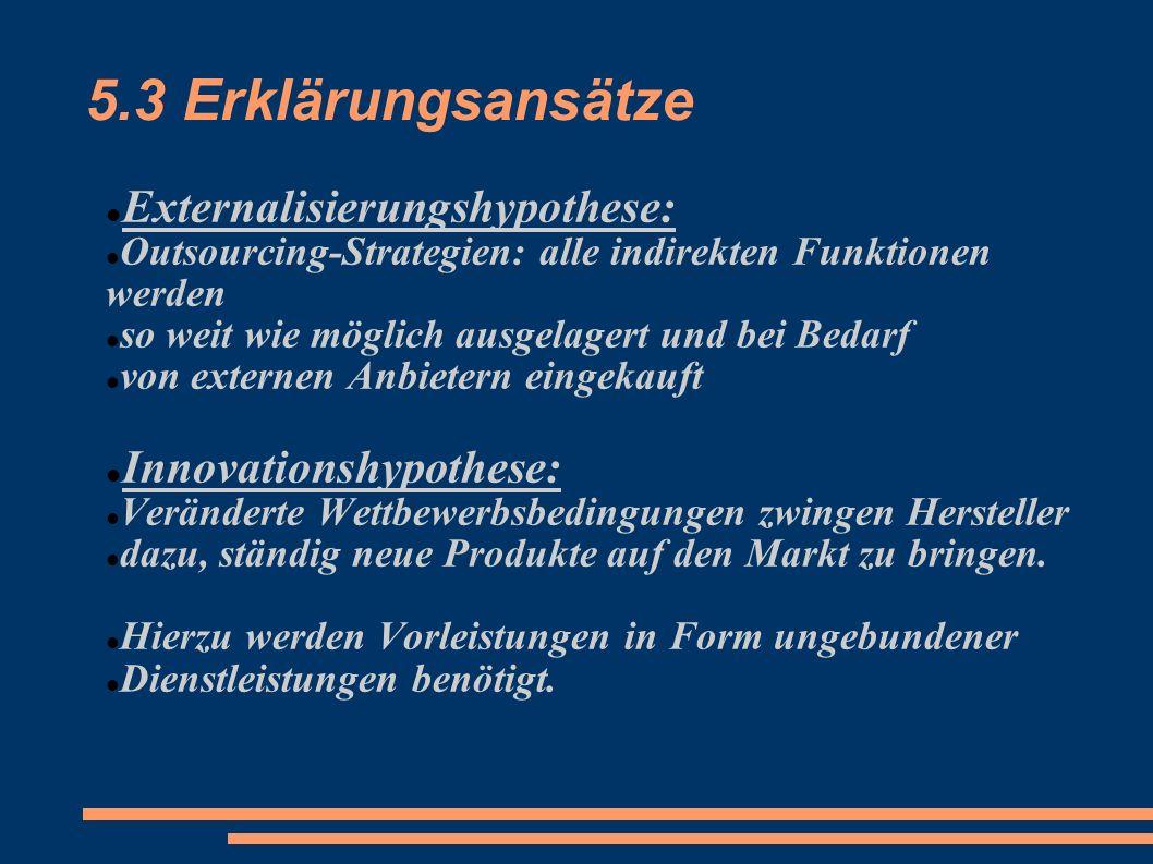 5.3 Erklärungsansätze Externalisierungshypothese: Outsourcing-Strategien: alle indirekten Funktionen werden so weit wie möglich ausgelagert und bei Be