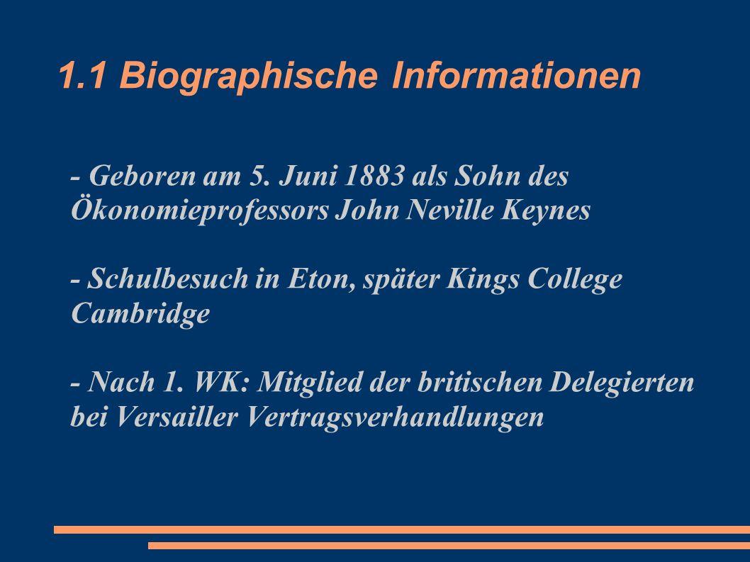 1.1 Biographische Informationen - Geboren am 5. Juni 1883 als Sohn des Ökonomieprofessors John Neville Keynes - Schulbesuch in Eton, später Kings Coll