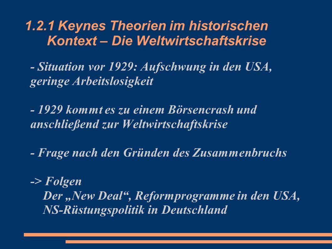 1.2.1 Keynes Theorien im historischen Kontext – Die Weltwirtschaftskrise - Situation vor 1929: Aufschwung in den USA, geringe Arbeitslosigkeit - 1929