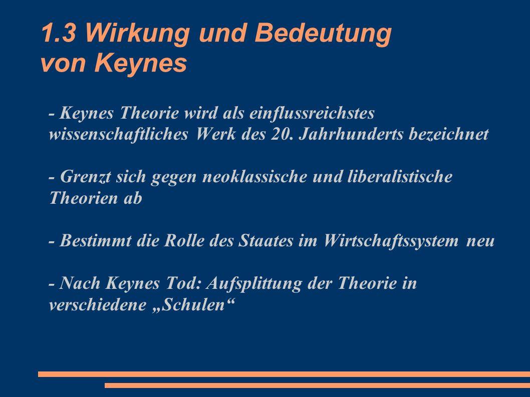 1.3 Wirkung und Bedeutung von Keynes - Keynes Theorie wird als einflussreichstes wissenschaftliches Werk des 20. Jahrhunderts bezeichnet - Grenzt sich