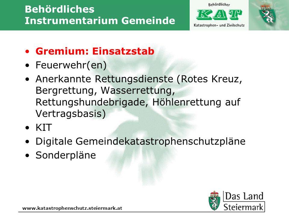 Autor www.katastrophenschutz.steiermark.at Behördliches Instrumentarium Gemeinde Gremium: Einsatzstab Feuerwehr(en) Anerkannte Rettungsdienste (Rotes