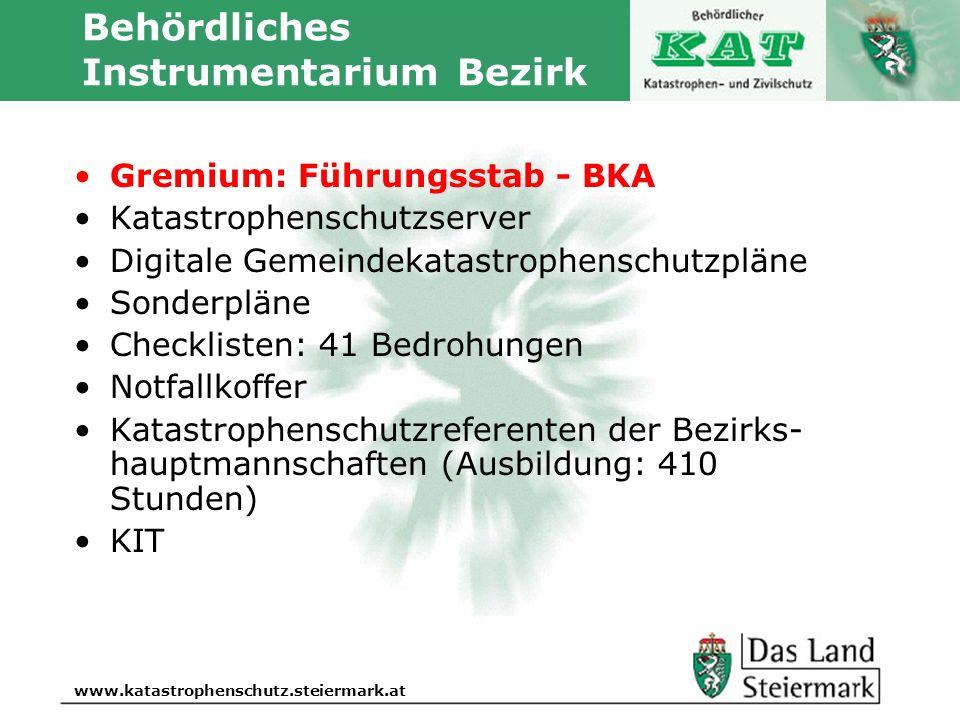 Autor www.katastrophenschutz.steiermark.at Behördliches Instrumentarium Bezirk Gremium: Führungsstab - BKA Katastrophenschutzserver Digitale Gemeindek