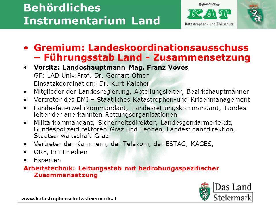 Autor www.katastrophenschutz.steiermark.at Behördliches Instrumentarium Land Gremium: Landeskoordinationsausschuss – Führungsstab Land - Zusammensetzu