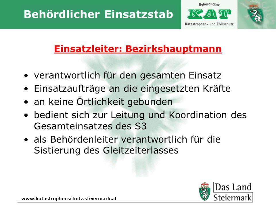 Autor www.katastrophenschutz.steiermark.at Behördlicher Einsatzstab Einsatzleiter: Bezirkshauptmann verantwortlich für den gesamten Einsatz Einsatzauf