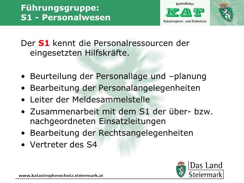 Autor www.katastrophenschutz.steiermark.at Führungsgruppe: S1 - Personalwesen Der S1 kennt die Personalressourcen der eingesetzten Hilfskräfte. Beurte