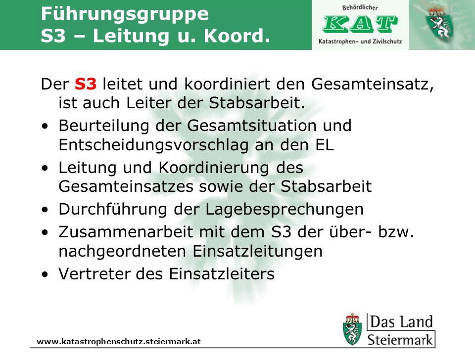 Autor www.katastrophenschutz.steiermark.at Führungsgruppe S3 – Leitung u. Koord. Der S3 leitet und koordiniert den Gesamteinsatz, ist auch Leiter der