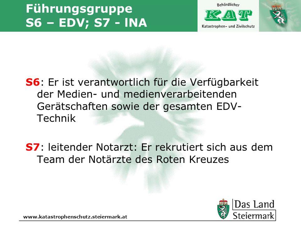 Autor www.katastrophenschutz.steiermark.at Führungsgruppe S6 – EDV; S7 - lNA S6: Er ist verantwortlich für die Verfügbarkeit der Medien- und medienver