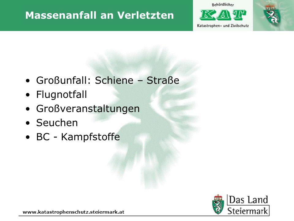 Autor www.katastrophenschutz.steiermark.at Massenanfall an Verletzten Großunfall: Schiene – Straße Flugnotfall Großveranstaltungen Seuchen BC - Kampfs