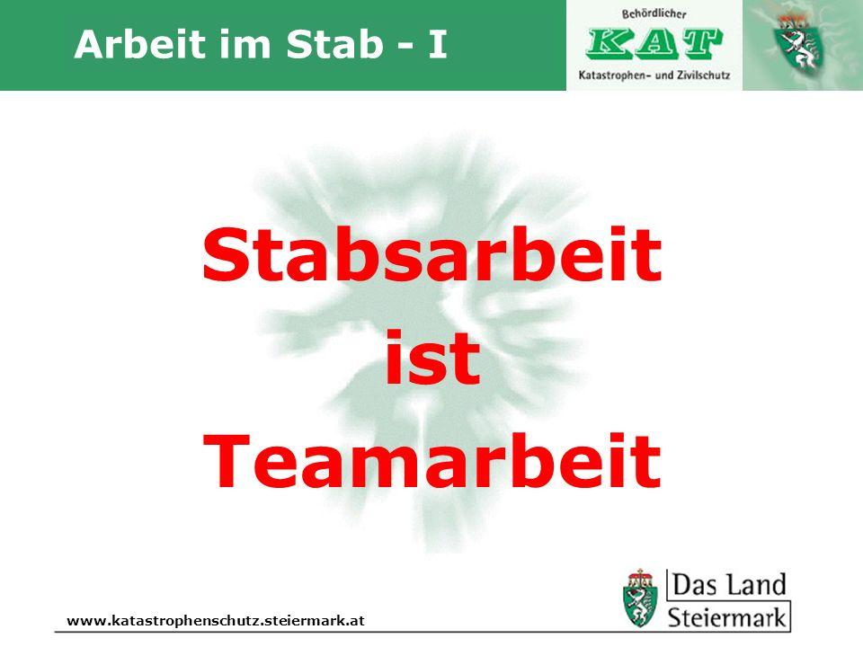 Autor www.katastrophenschutz.steiermark.at Arbeit im Stab - I Stabsarbeit ist Teamarbeit