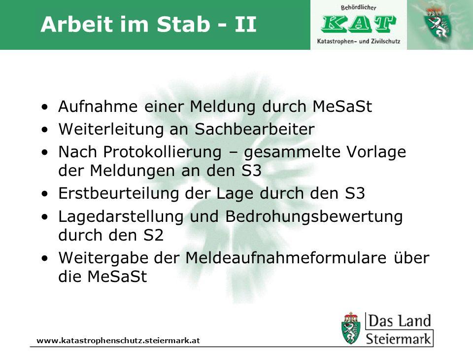 Autor www.katastrophenschutz.steiermark.at Arbeit im Stab - II Aufnahme einer Meldung durch MeSaSt Weiterleitung an Sachbearbeiter Nach Protokollierun