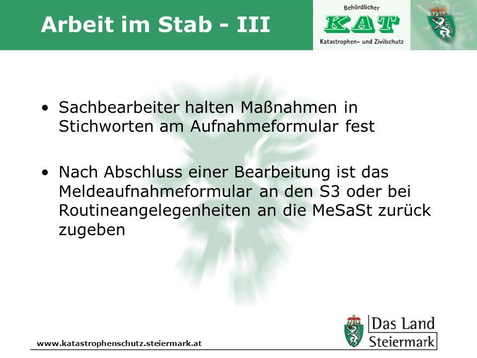 Autor www.katastrophenschutz.steiermark.at Arbeit im Stab - III Sachbearbeiter halten Maßnahmen in Stichworten am Aufnahmeformular fest Nach Abschluss