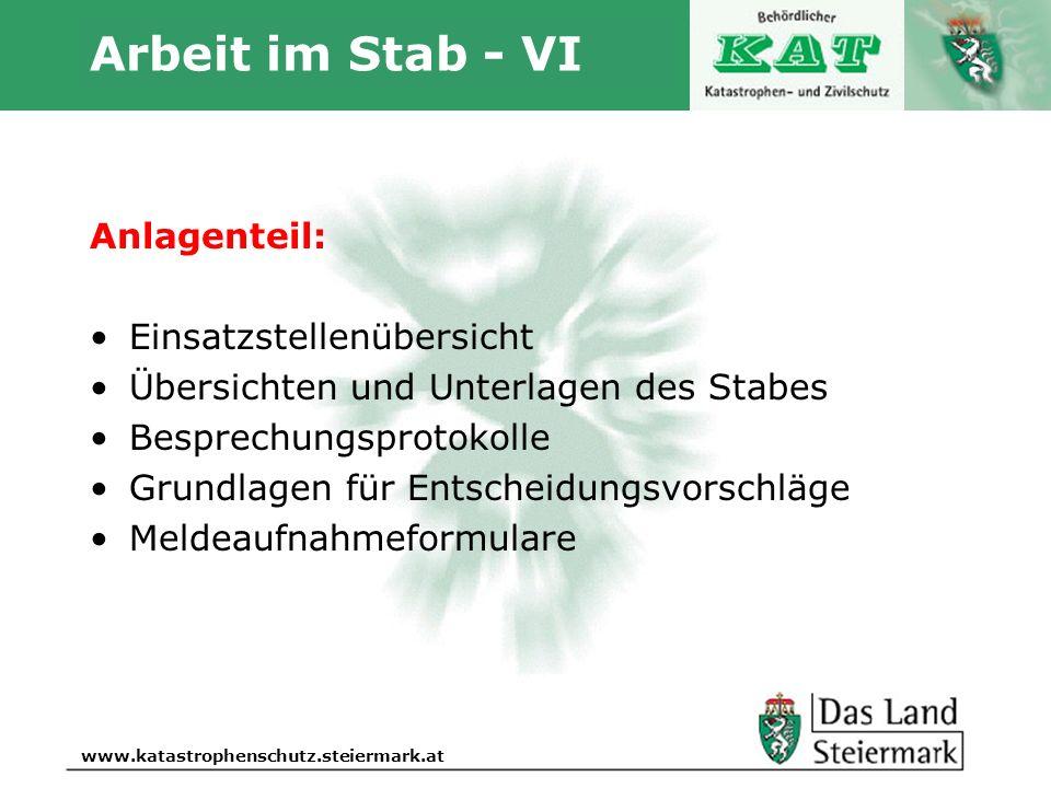 Autor www.katastrophenschutz.steiermark.at Arbeit im Stab - VI Anlagenteil: Einsatzstellenübersicht Übersichten und Unterlagen des Stabes Besprechungs