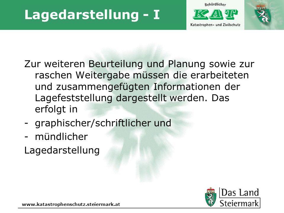 Autor www.katastrophenschutz.steiermark.at Lagedarstellung - I Zur weiteren Beurteilung und Planung sowie zur raschen Weitergabe müssen die erarbeitet