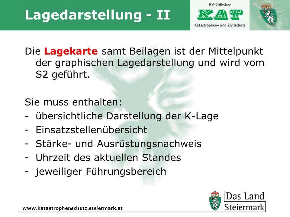 Autor www.katastrophenschutz.steiermark.at Lagedarstellung - II Die Lagekarte samt Beilagen ist der Mittelpunkt der graphischen Lagedarstellung und wi