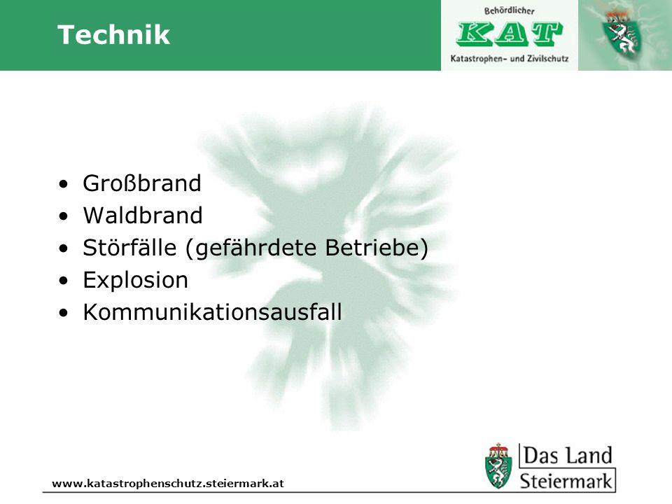 Autor www.katastrophenschutz.steiermark.at Technik Großbrand Waldbrand Störfälle (gefährdete Betriebe) Explosion Kommunikationsausfall