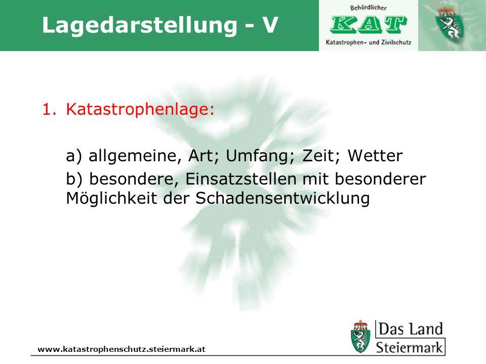 Autor www.katastrophenschutz.steiermark.at Lagedarstellung - V 1.Katastrophenlage: a) allgemeine, Art; Umfang; Zeit; Wetter b) besondere, Einsatzstell