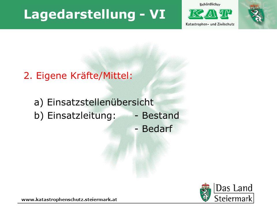 Autor www.katastrophenschutz.steiermark.at Lagedarstellung - VI 2. Eigene Kräfte/Mittel: a) Einsatzstellenübersicht b) Einsatzleitung:- Bestand - Beda