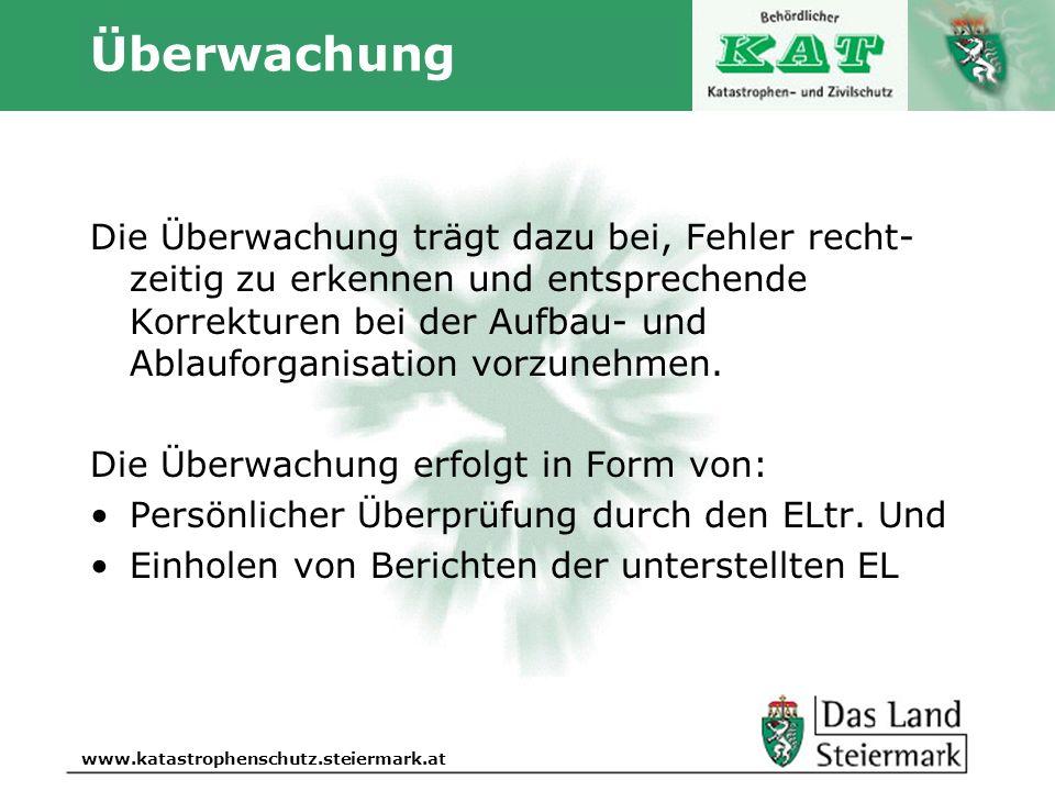 Autor www.katastrophenschutz.steiermark.at Überwachung Die Überwachung trägt dazu bei, Fehler recht- zeitig zu erkennen und entsprechende Korrekturen