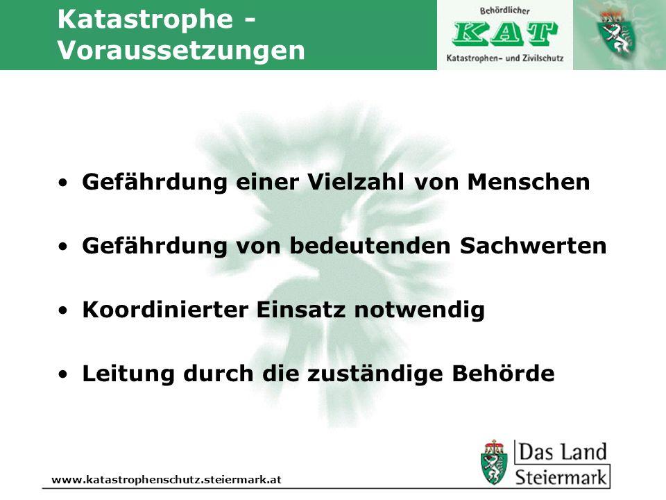 Autor www.katastrophenschutz.steiermark.at Katastrophe - Voraussetzungen Gefährdung einer Vielzahl von Menschen Gefährdung von bedeutenden Sachwerten